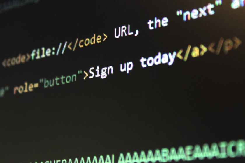 HTML code for button link text