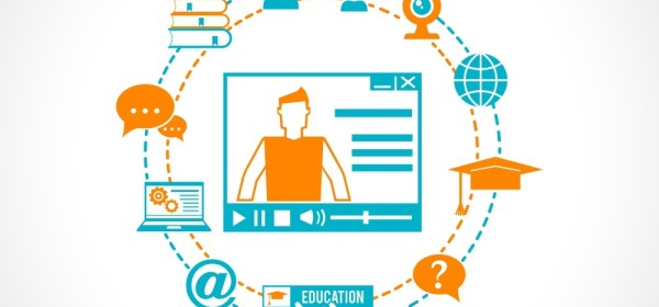 Online Learning icons circulating an online video depiction.